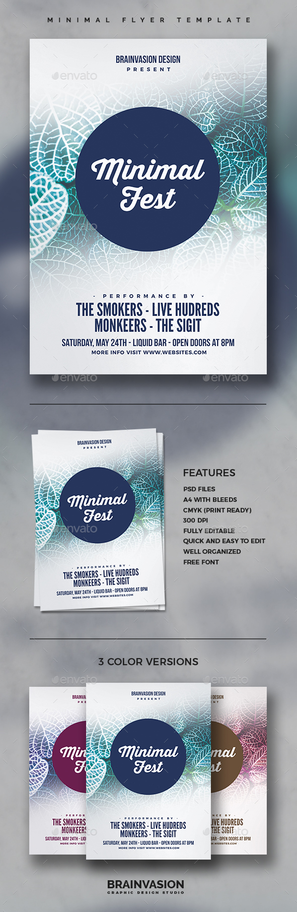 Minimal Flyer/Poster Template Vol.04 - Clubs & Parties Events