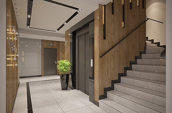 Apartments Building Entrance Hall Area Foyer Lobby With Elevator Interior  Design   3DOcean Item For Sale