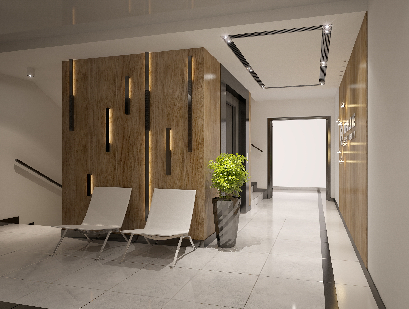 Apartments building Entrance Hall area Foyer Lobby with elevator