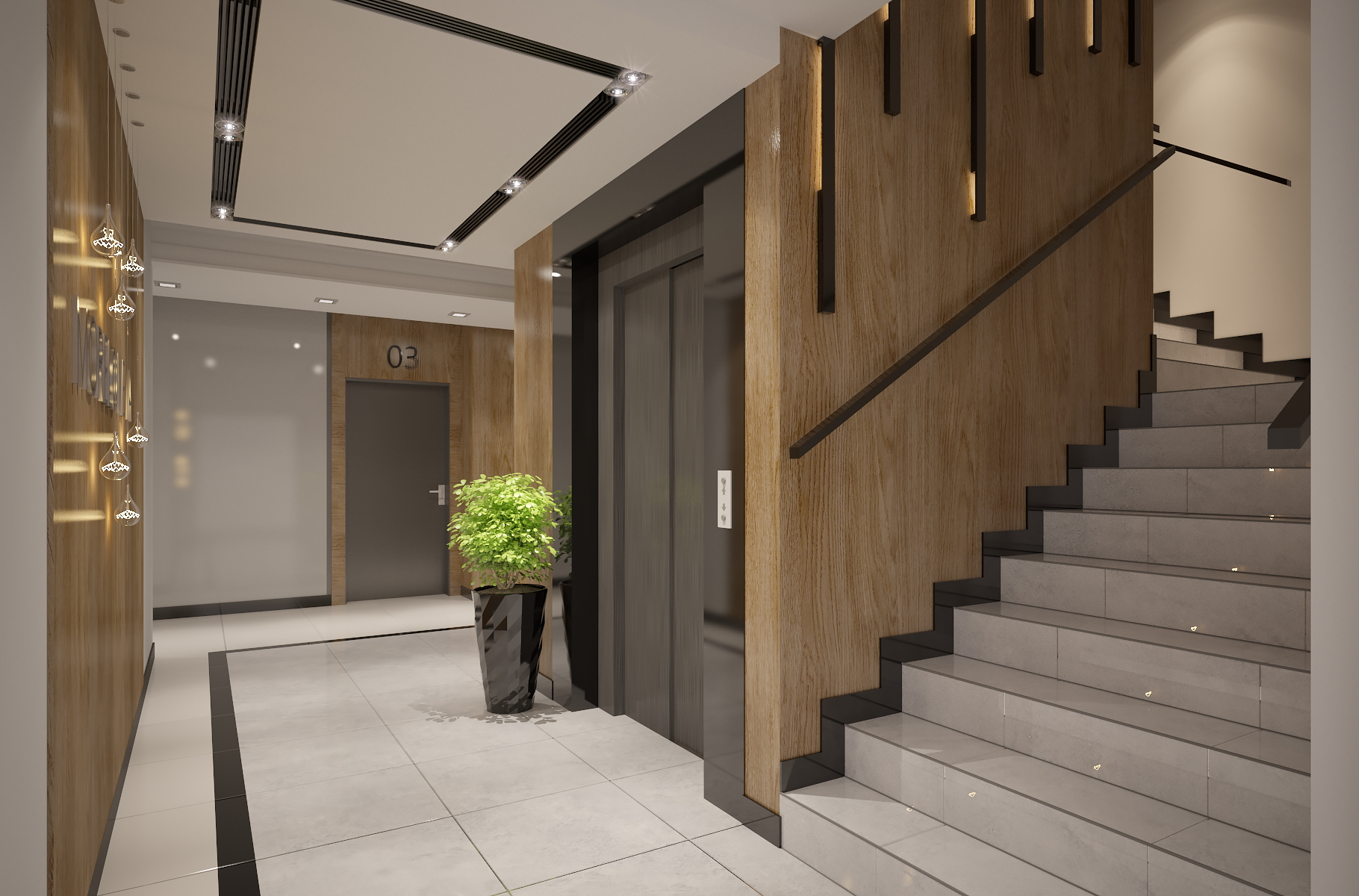 Apartments building entrance hall area foyer lobby with for Entrance foyer design