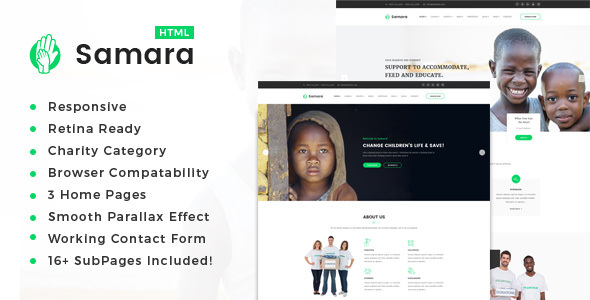 Samara || Responsive HTML Template for Charity & Fund Raising - Charity Nonprofit
