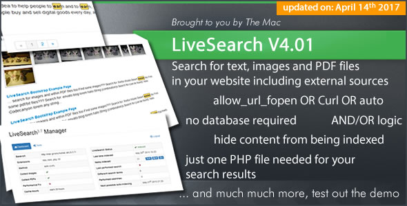 LiveSearch - Searchengine for your Website - CodeCanyon Item for Sale