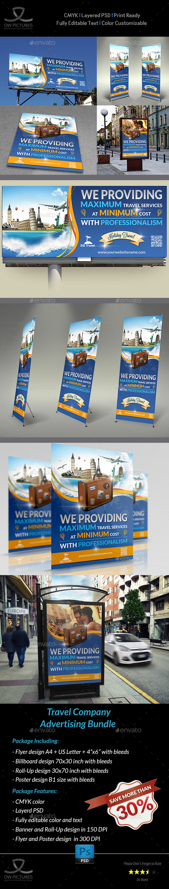 Travel Company Advertising Bundle Template - Signage Print Templates