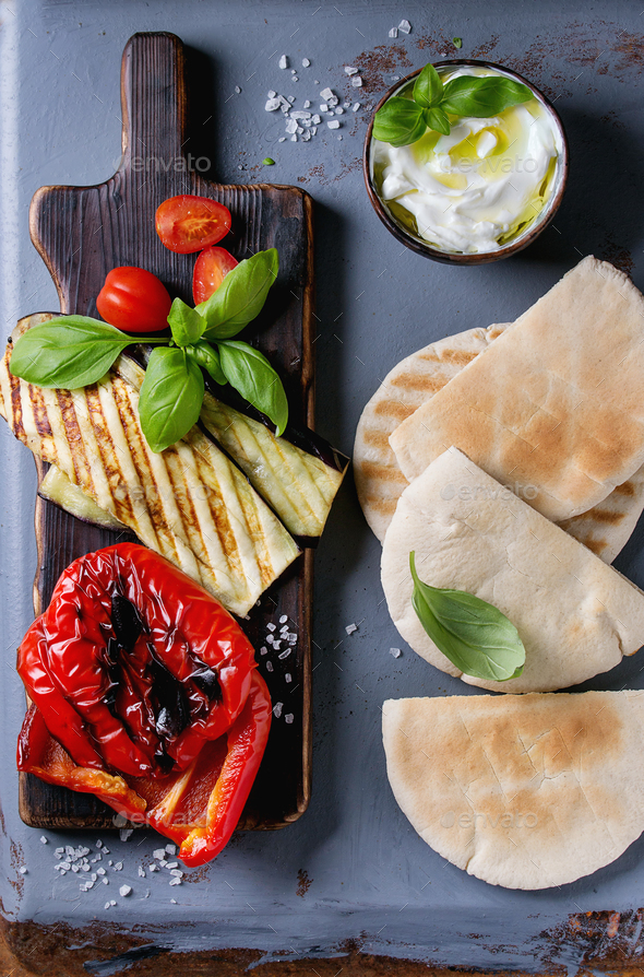 Ingredients for pita bread sandwich - Stock Photo - Images