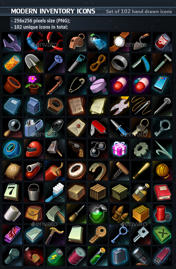 Modern Tools Icons - Miscellaneous Game Assets