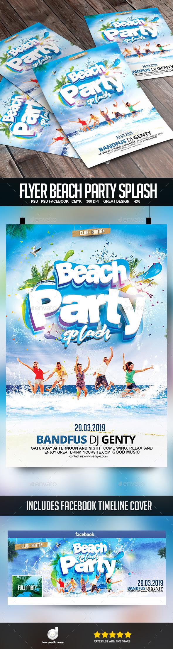 Flyer Beach Party Splash - Clubs & Parties Events