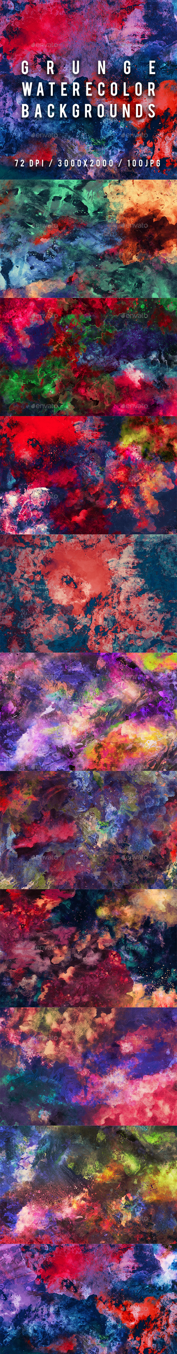 100 Grunge Watercolor Backgrounds - Abstract Backgrounds