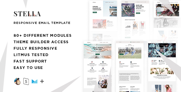 Stella – 80+ Modules – Responsive Email + StampReady Builder & Mailchimp Editor