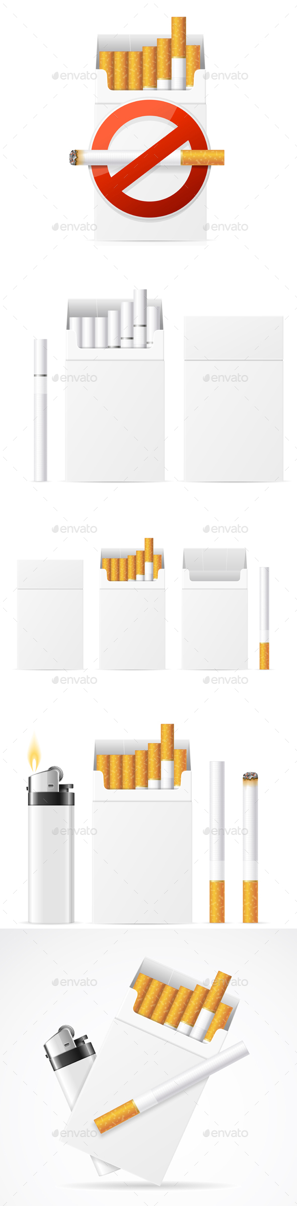 Realistic Template Blank White Cigarette Pack with Pocket Lighter - Miscellaneous Conceptual