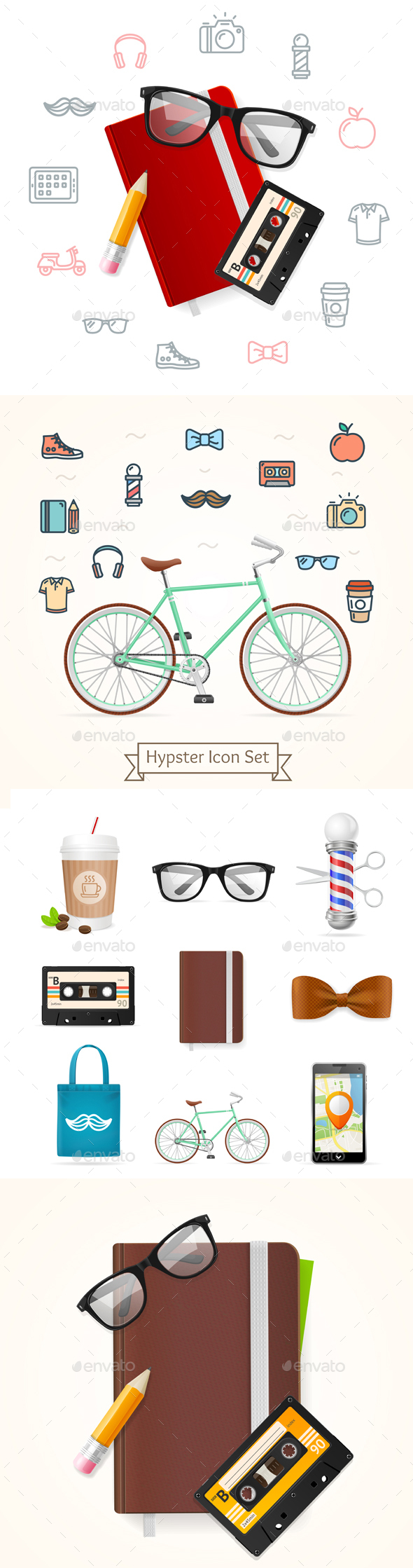 Realistic Hipster Style Icon Color Set - Retro Technology