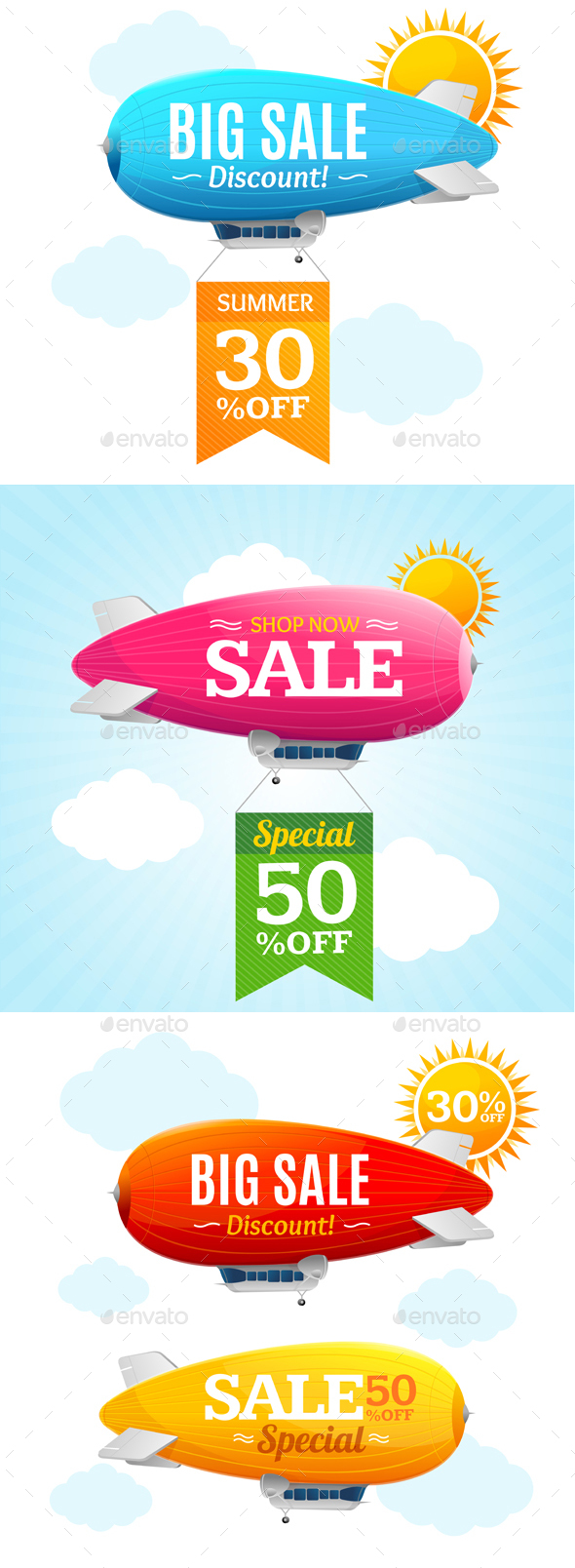 Sale Concept Labels with Airship - Retail Commercial / Shopping