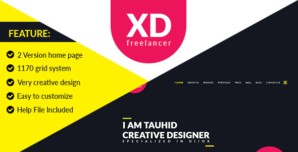 XD Freelancer- Personal/Agency Portfolio One Page PSD Template - PSD Templates