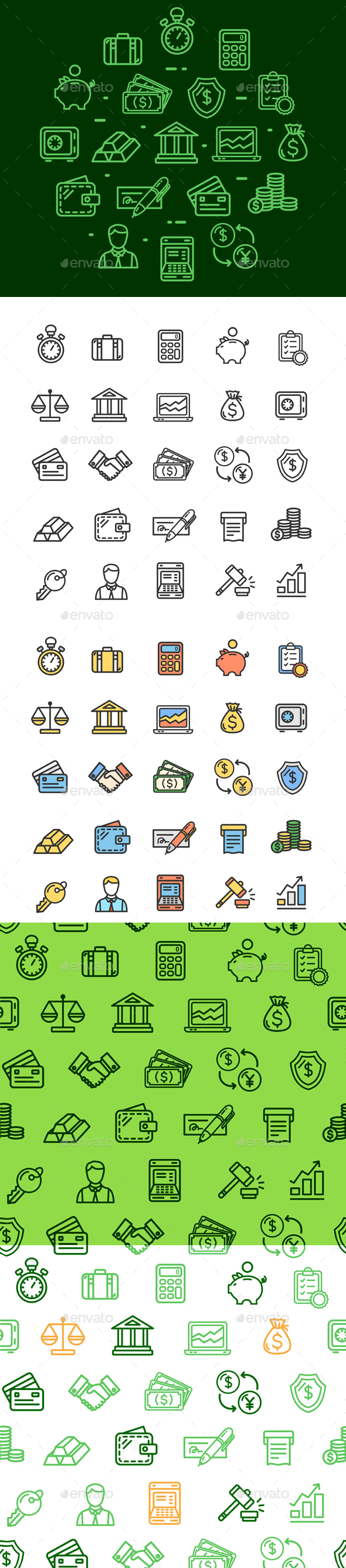 Banking and Accounting  Thin Line Icon and Pattern Background Set - Industries Business