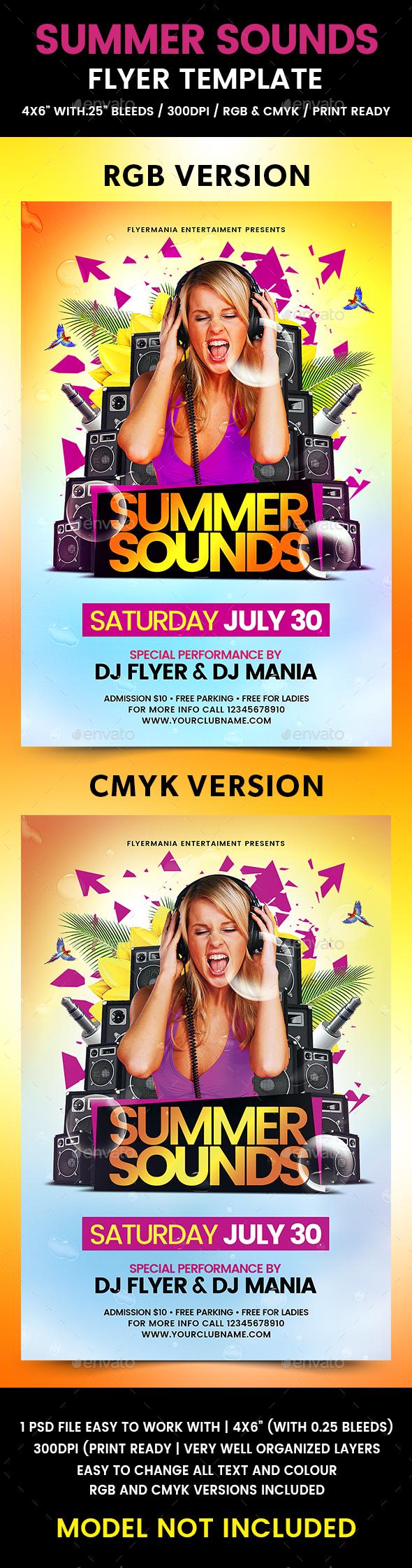 Summer Sounds Flyer Template - Flyers Print Templates