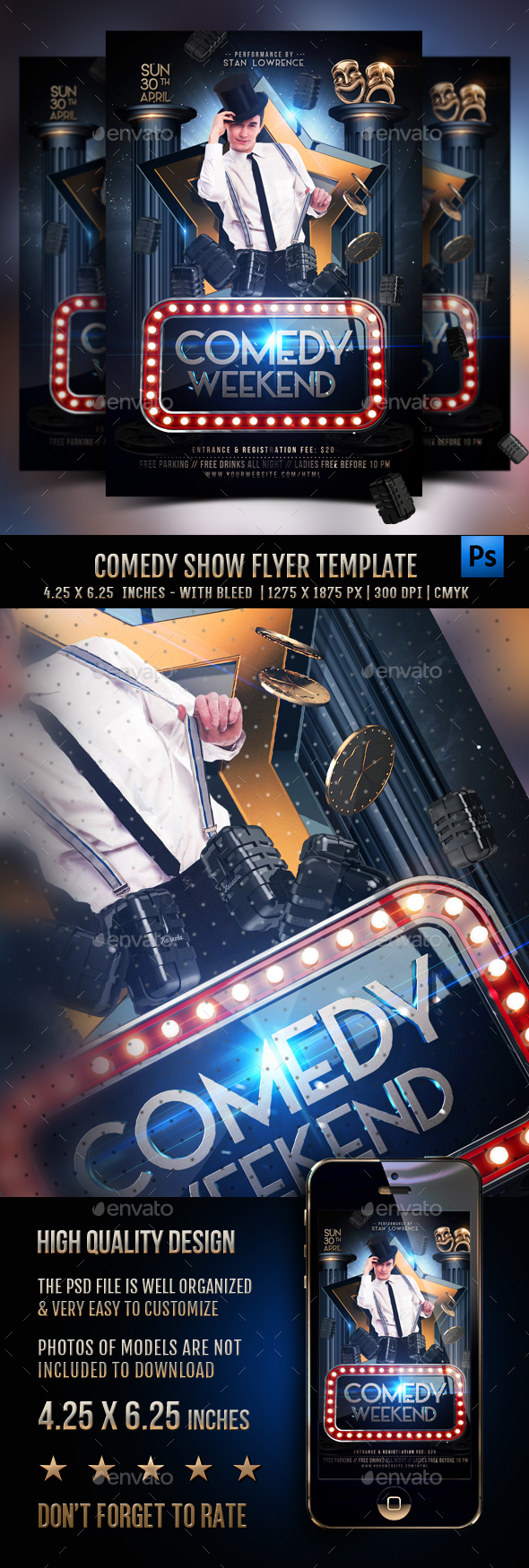 Comedy Show Flyer Template - Clubs & Parties Events