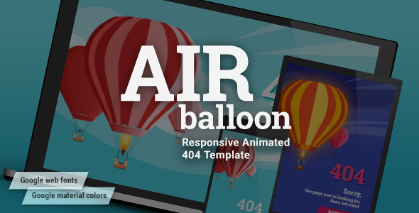AirBalloon – Animated Responsive Error 404 and Coming Soon HTML5 Template