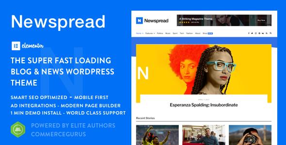 Newspread – Magazine, Blog, Newspaper and Review WordPress Theme