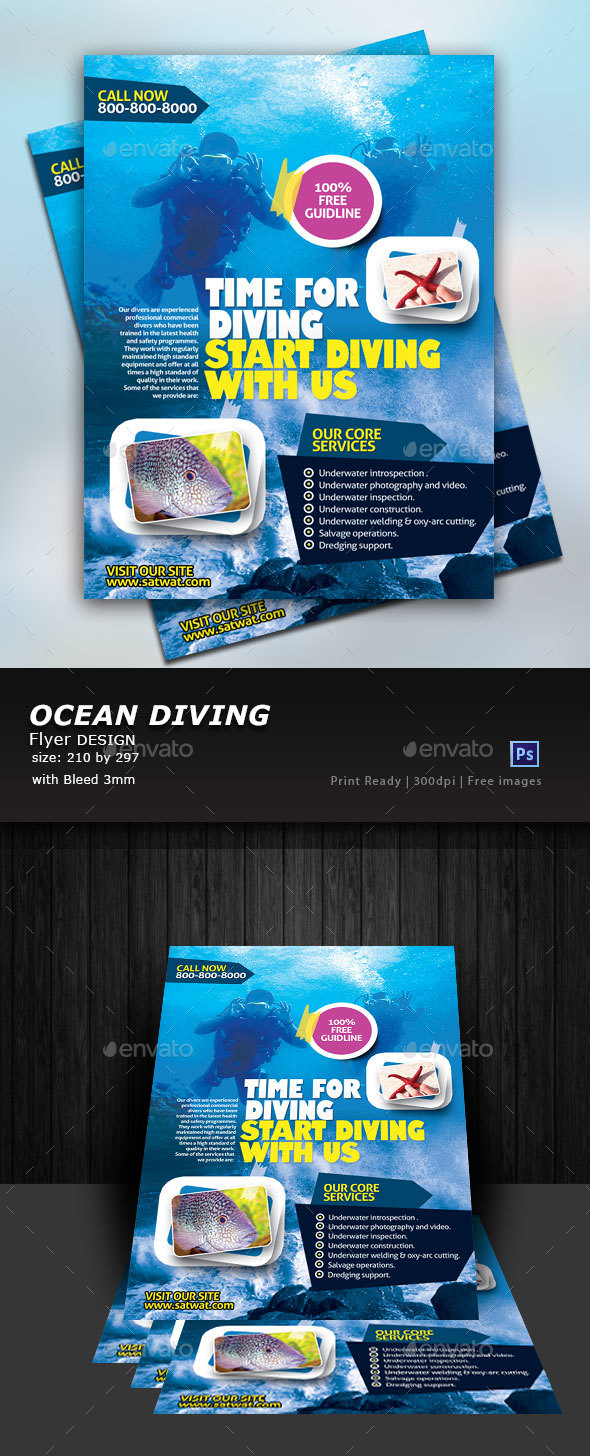 Ocean Diving Flyer - Commerce Flyers