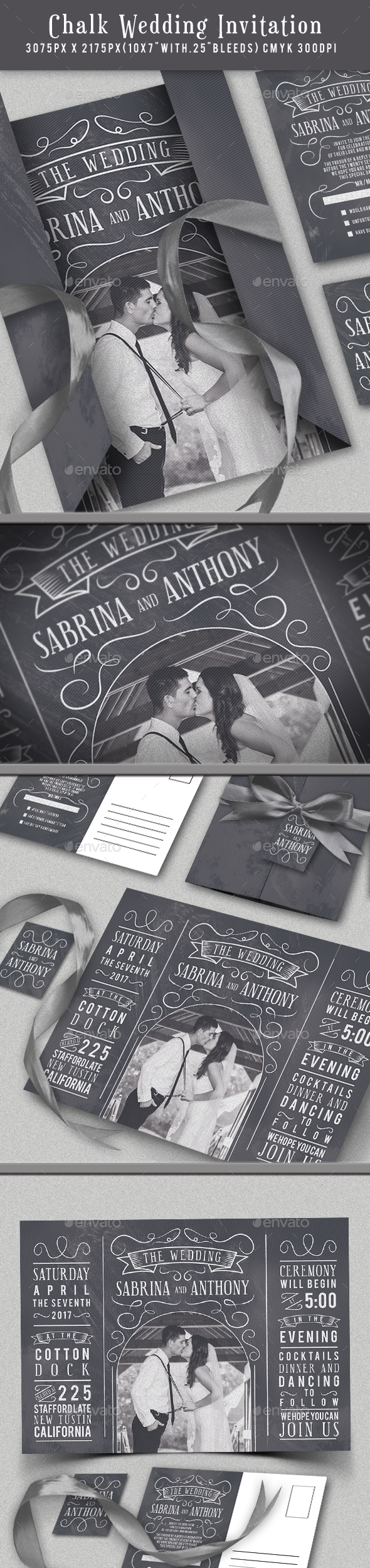 Chalk Wedding Invitation