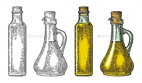 Bottle and Jug Glass of Liquid with Cork Stopper - Miscellaneous Vectors