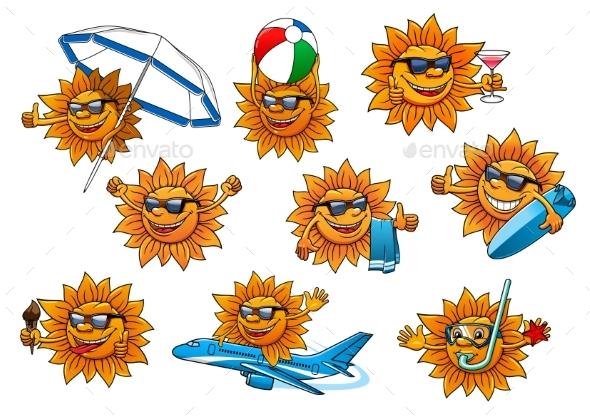Summer Sun Cartoon Mascot Set - Miscellaneous Characters