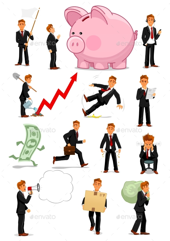 Businessman Character in Different Situations Set - Concepts Business