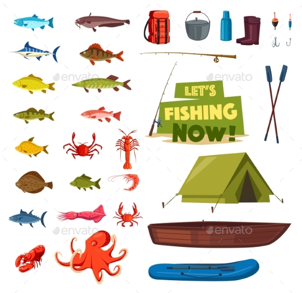 Fishing Sport Icon with Fish, Boat, Rod and Tackle - Sports/Activity Conceptual