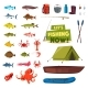 Fishing Sport Icon with Fish, Boat, Rod and Tackle - GraphicRiver Item for Sale