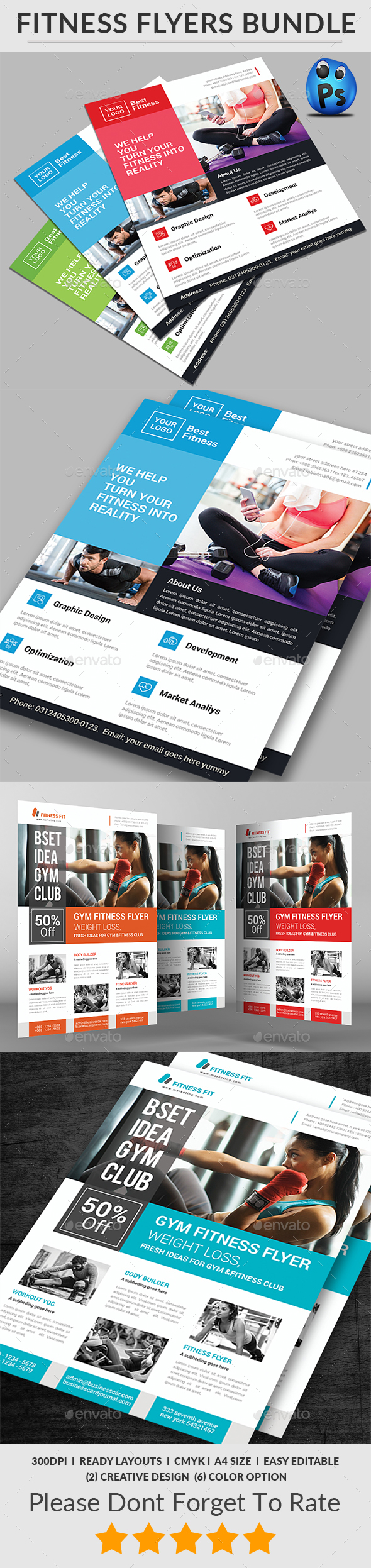 Fitness Flyers Bundle Print Templates - Corporate Flyers