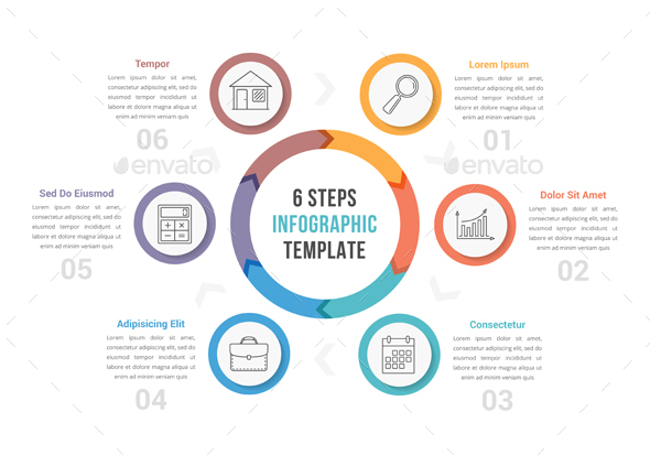 Circle Infographics with Six Steps - Infographics