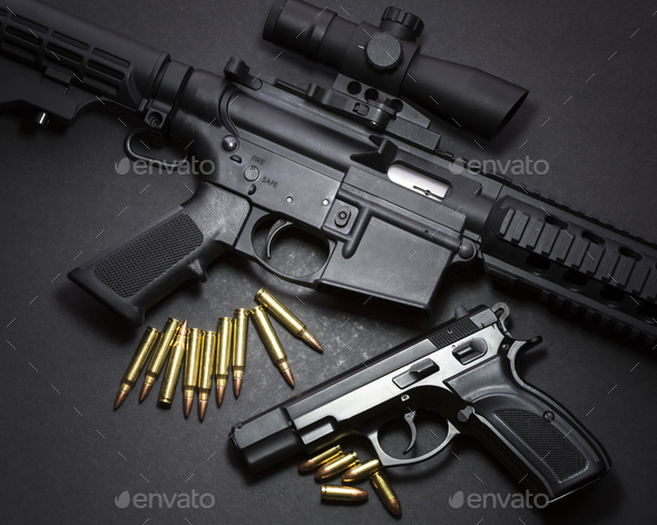 Handgun with rifle - Stock Photo - Images