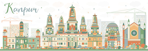 Abstract Kanpur Skyline with Color Buildings - Buildings Objects