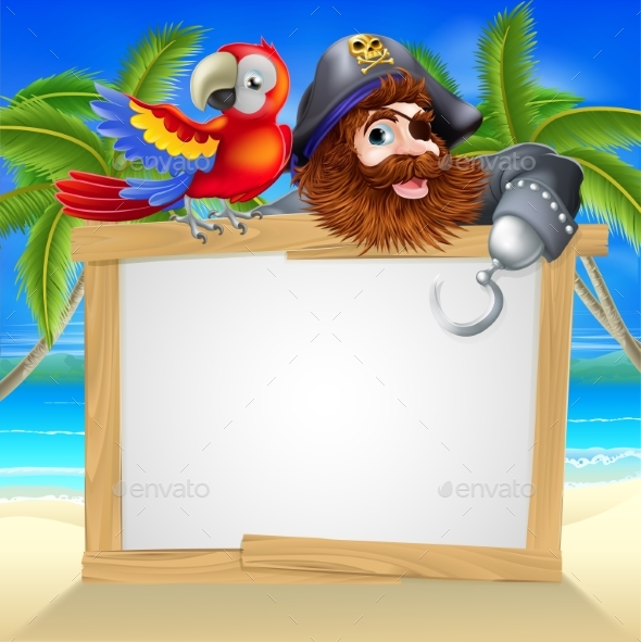 Pirate and Parrot Beach Sign - Miscellaneous Vectors