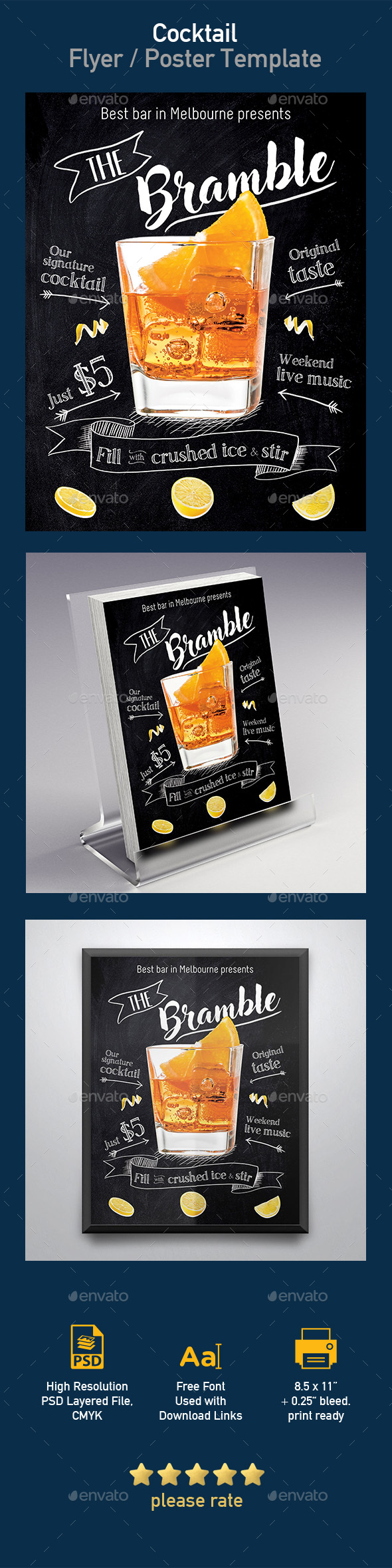 Bramble Cocktail Flyer / Poster Template - Print Templates