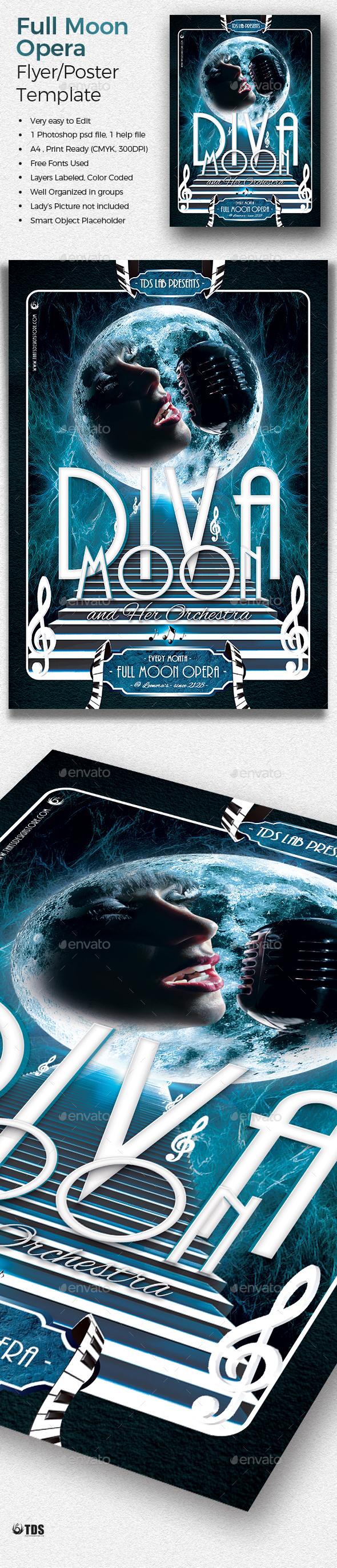 Retro Futuristic Full Moon Opera Flyer Template - Miscellaneous Events