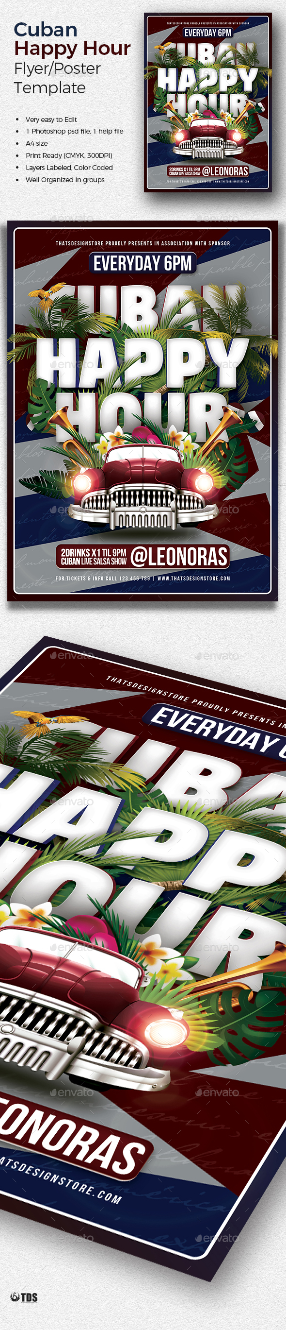 Cuban Happy Hour Flyer Template - Clubs & Parties Events