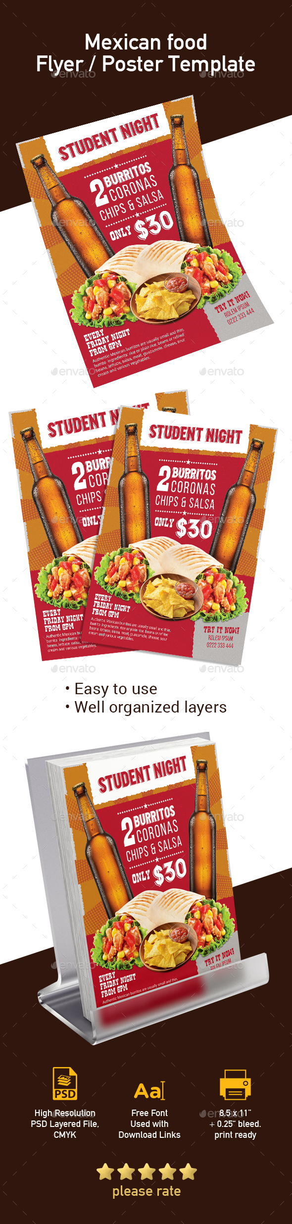 Mexican Food Club Flyer / Poster Template - Print Templates