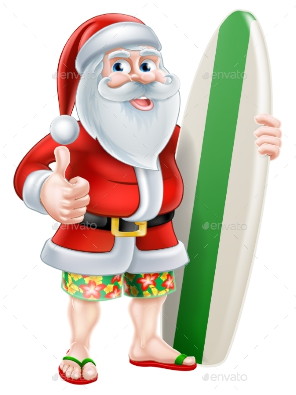 Cartoon Summer Santa - Christmas Seasons/Holidays