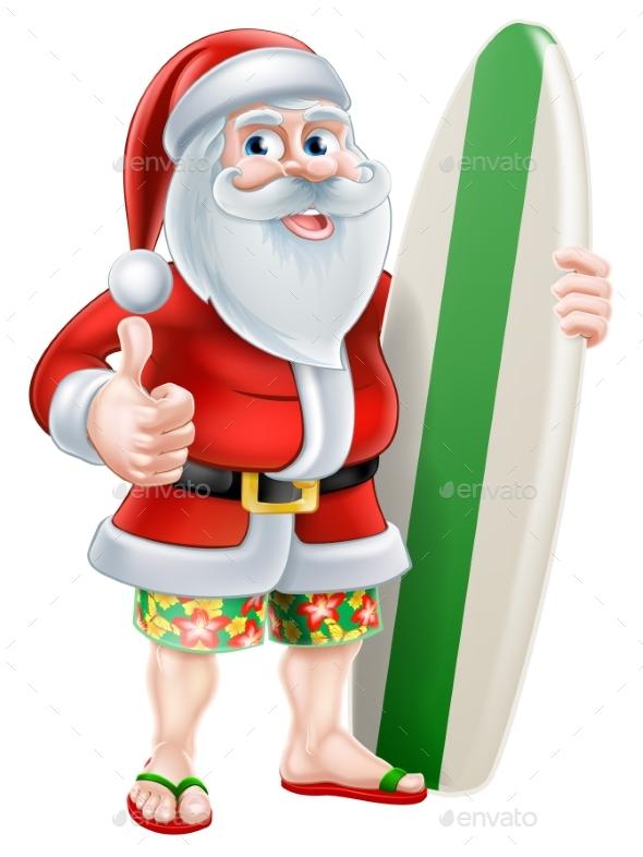 Cartoon Summer Santa - Christmas Seasons/Holidays