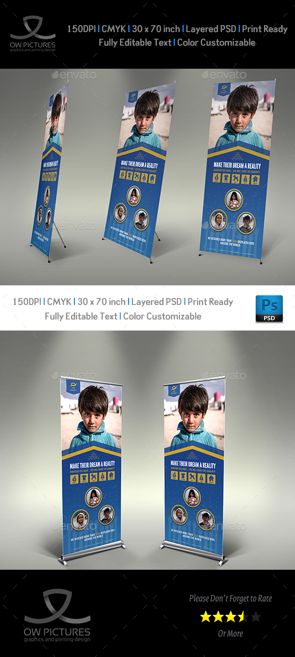 Kids Charity Signage Roll up banner Template Vol.2 - Signage Print Templates