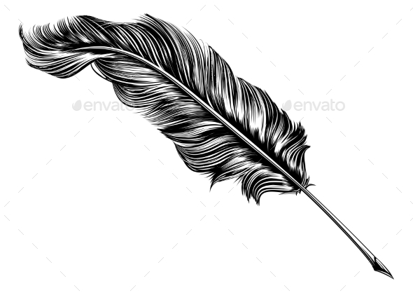 Vintage Feather Quill Pen Illustration - Animals Characters