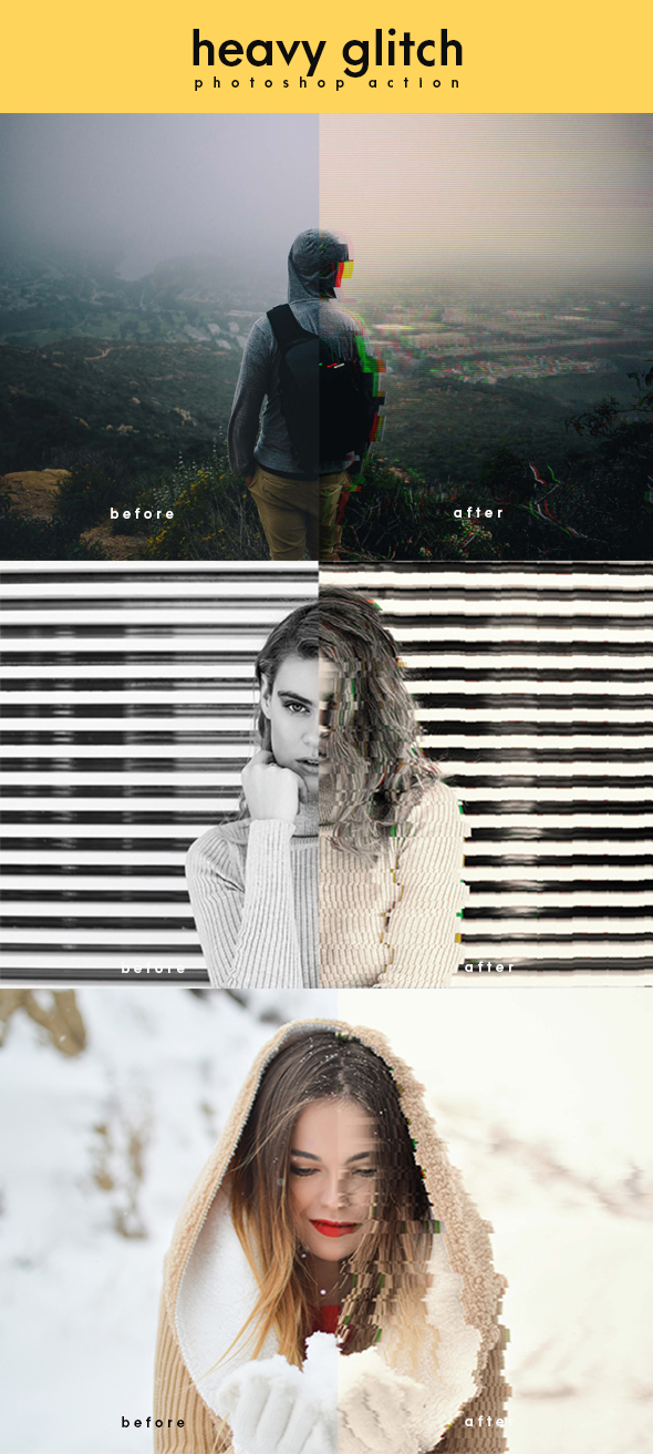 Heavy Glitch Photoshop Action - Photo Effects Actions