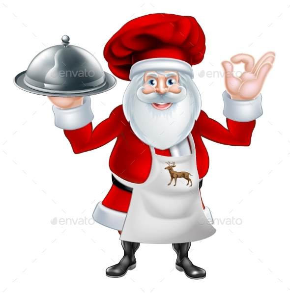 Santa Chef Christmas Dinner Concept - Food Objects