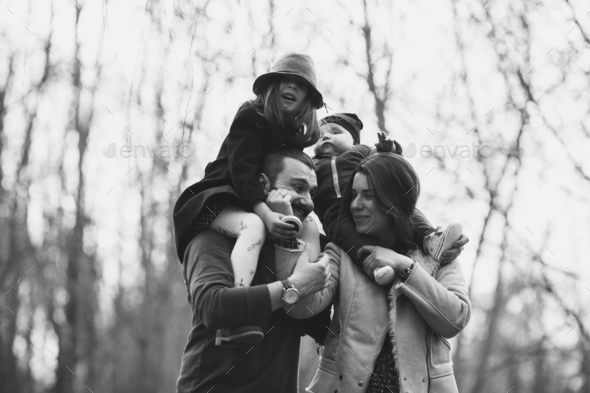 happy family in the autumn park - Stock Photo - Images