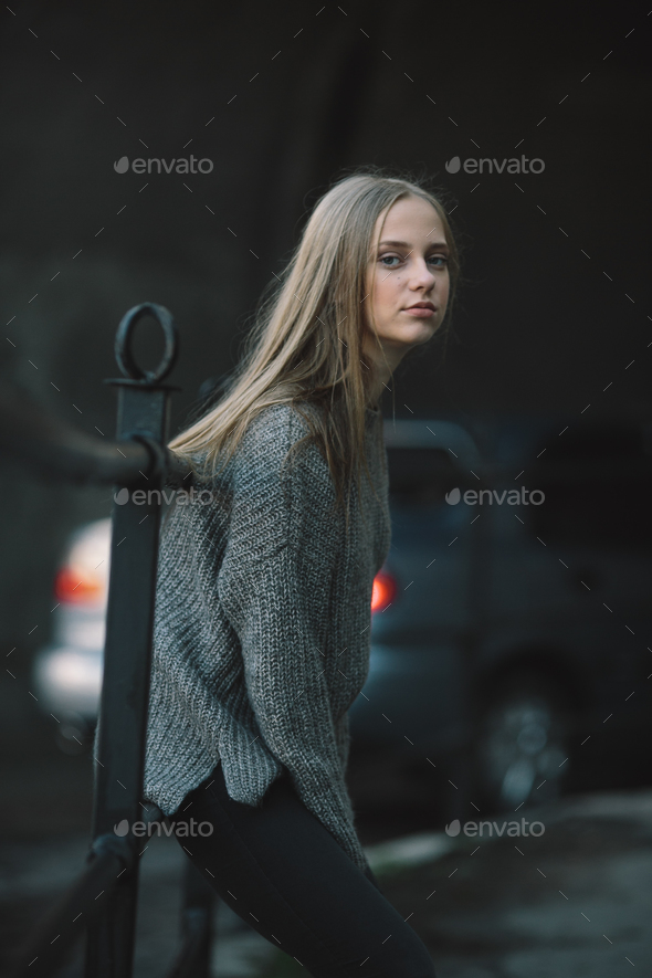 Fashion girl posing on the street - Stock Photo - Images