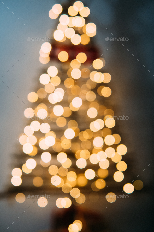 Christmas tree out of focus. - Stock Photo - Images