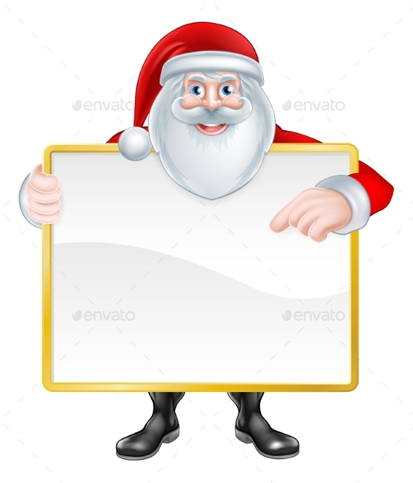 Cartoon Santa Sign - Christmas Seasons/Holidays