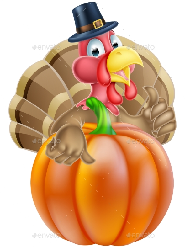 Thanksgiving Turkey and Pumpkin - Miscellaneous Seasons/Holidays