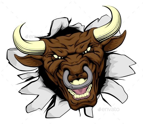 Bull Mascot Breakthrough - Animals Characters