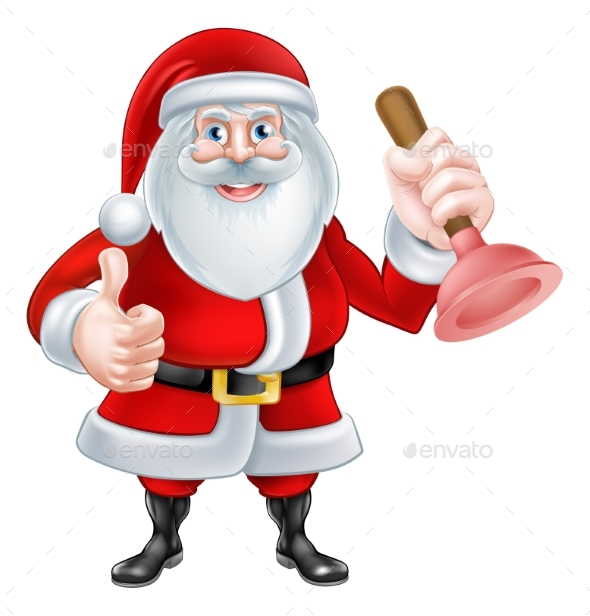 Cartoon Santa Holding a Plunger - Christmas Seasons/Holidays